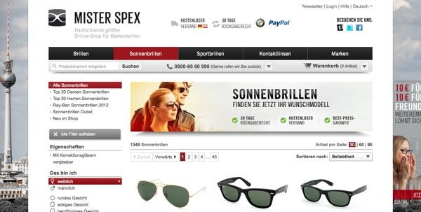 Cooler Sonnenbrillenshop: Mister Spex